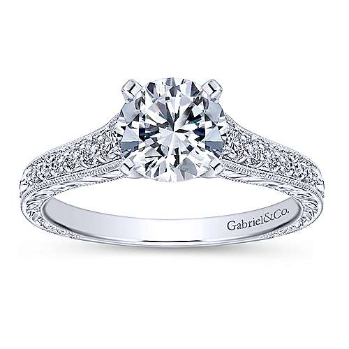 Lisette 14k White Gold Round Straight Engagement Ring angle 5