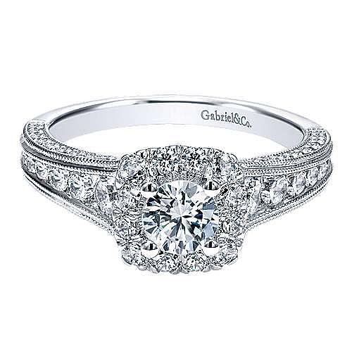 Gabriel - Loa 14k White Gold Round Halo Engagement Ring