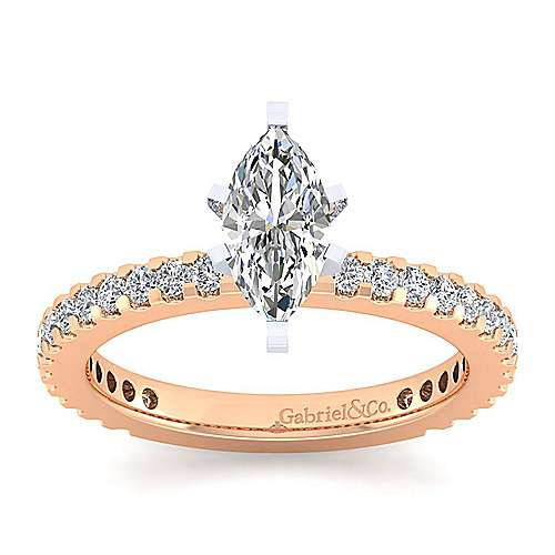 Logan 14k White And Rose Gold Marquise  Straight Engagement Ring angle 5