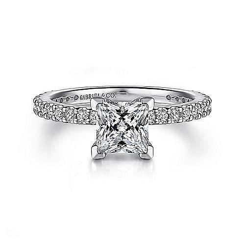 Gabriel - Logan 14k White Gold Princess Cut Straight Engagement Ring