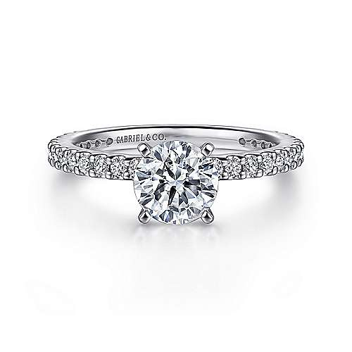 Logan 14k White Gold Round Straight Engagement Ring angle 1