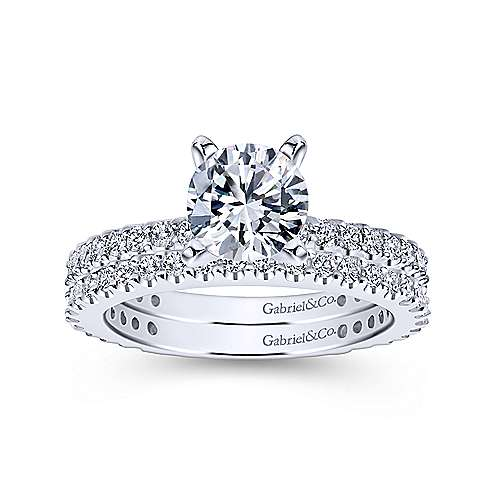 Logan 14k White Gold Round Straight Engagement Ring angle 4