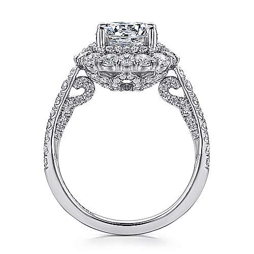 Lolita 18k White Gold Round Double Halo Engagement Ring angle 2