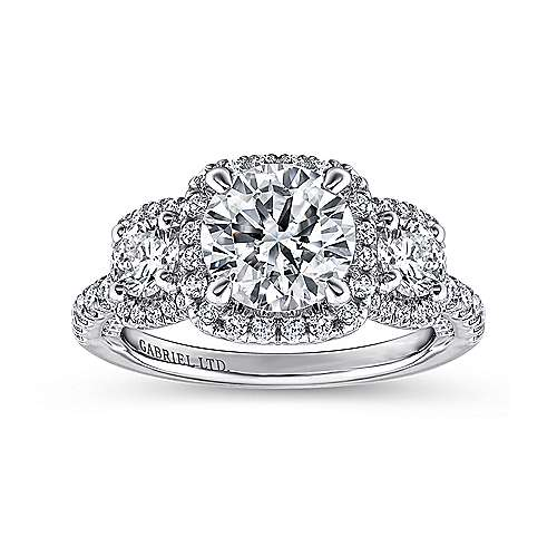 Lorena 18k White Gold Round 3 Stones Halo Engagement Ring angle 5