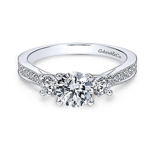 Gabriel - Lorene 14k White Gold Round 3 Stones Engagement Ring