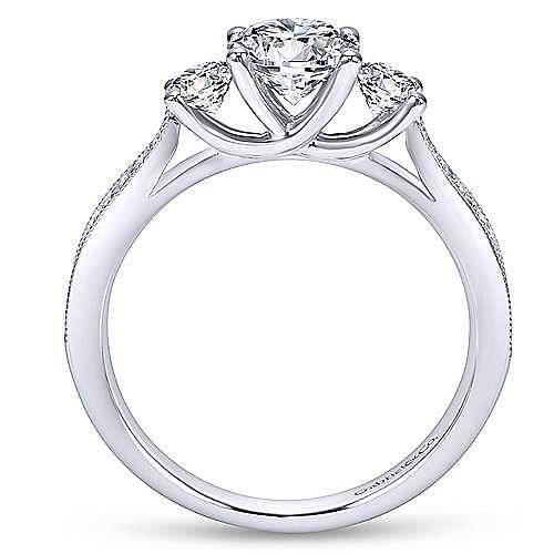 Lorene 14k White Gold Round 3 Stones Engagement Ring angle 2