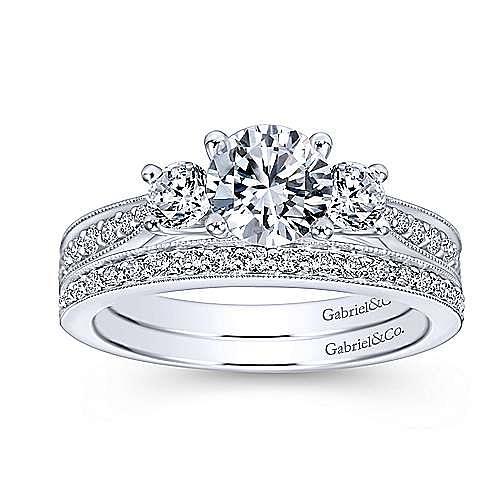 Lorene 14k White Gold Round 3 Stones Engagement Ring angle 4