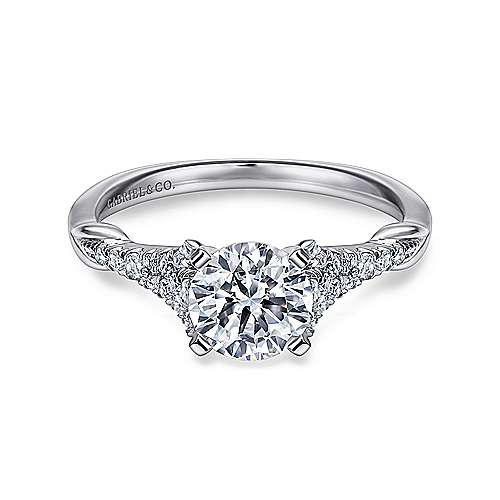 Lori 14k White Gold Round Straight Engagement Ring angle 1