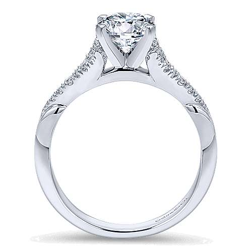 Lori 14k White Gold Round Straight Engagement Ring angle 2