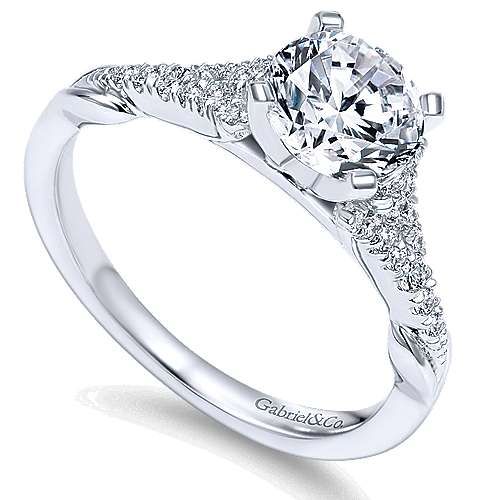 Lori 14k White Gold Round Straight Engagement Ring angle 3