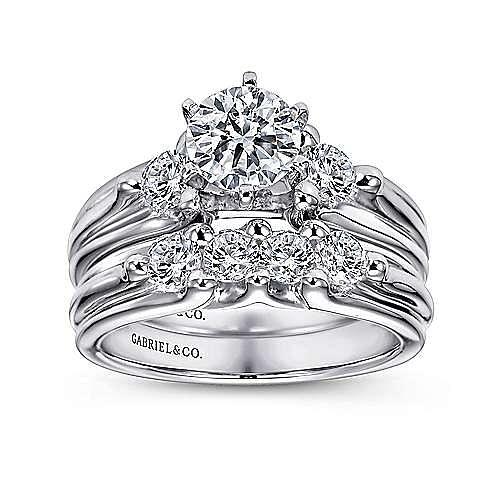 Lorna 14k White Gold Round 3 Stones Engagement Ring angle 4
