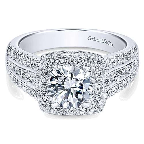 Gabriel - Lorraine 14k White Gold Round Halo Engagement Ring