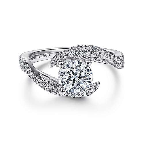 Gabriel - Lottie 14k White Gold Round Bypass Engagement Ring
