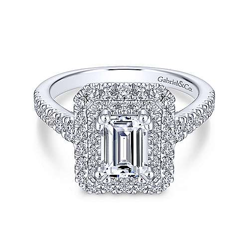 Lotus 14k White Gold Emerald Cut Double Halo Engagement Ring angle 1
