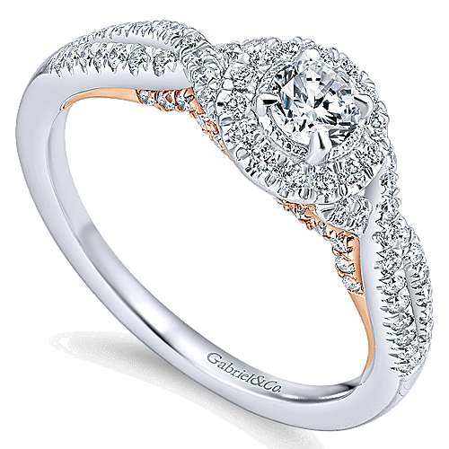 Lourdes 14k White And Rose Gold Round Halo Engagement Ring angle 3