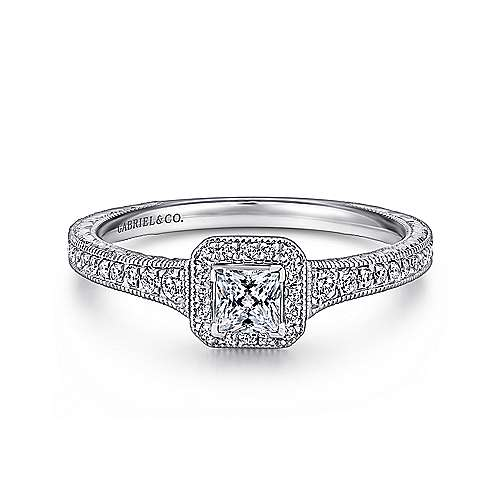 Lucas 14k White Gold Princess Cut Halo Engagement Ring angle 1