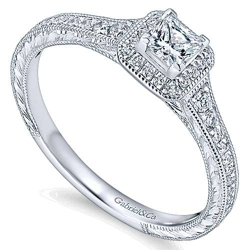 Lucas 14k White Gold Princess Cut Halo Engagement Ring angle 3