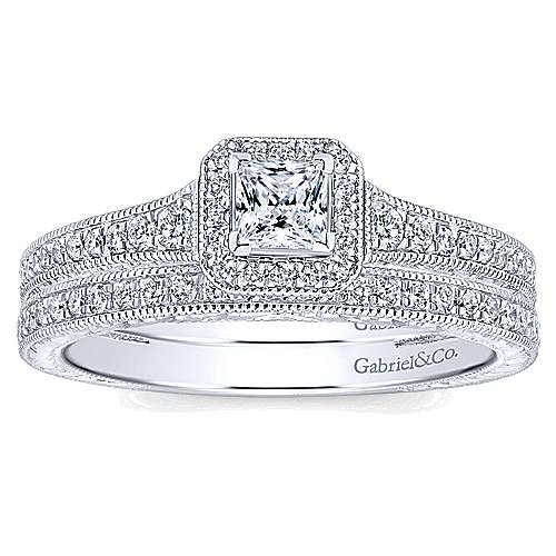 Lucas 14k White Gold Princess Cut Halo Engagement Ring angle 4