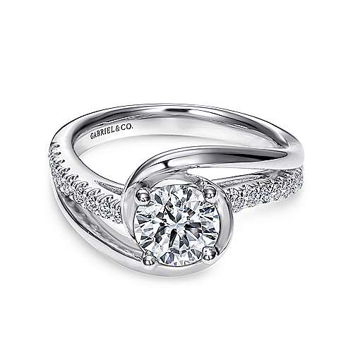 Lucca 14k White Gold Round Bypass Engagement Ring angle 1