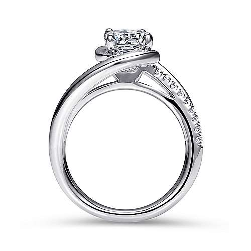 Lucca 14k White Gold Round Bypass Engagement Ring angle 2