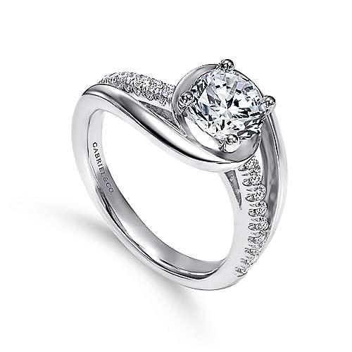 Lucca 14k White Gold Round Bypass Engagement Ring angle 3