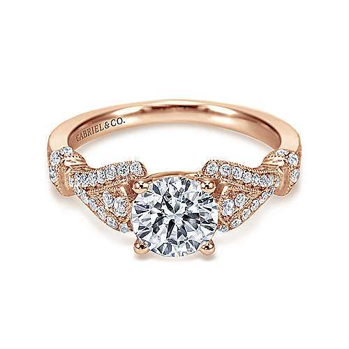 Lucille 14k Rose Gold Round Straight Engagement Ring angle 1