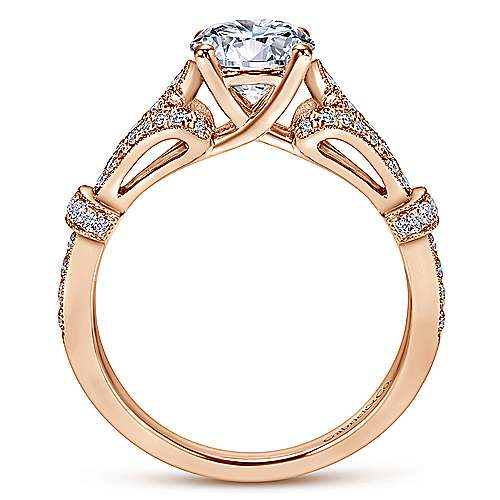 Lucille 14k Rose Gold Round Straight Engagement Ring angle 2