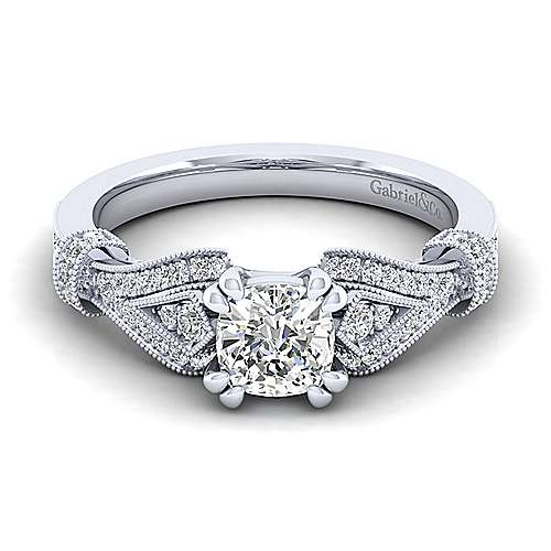 Gabriel - Lucille 14k White Gold Cushion Cut Straight Engagement Ring