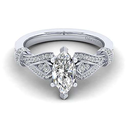 Gabriel - Lucille 14k White Gold Marquise  Straight Engagement Ring