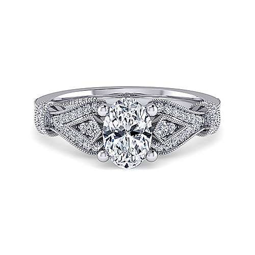 Gabriel - Lucille 14k White Gold Oval Straight Engagement Ring