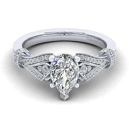 Gabriel - Lucille 14k White Gold Pear Shape Straight Engagement Ring