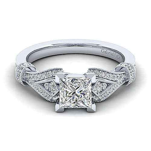 Gabriel - Lucille 14k White Gold Princess Cut Straight Engagement Ring