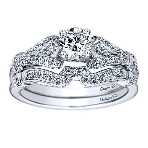 Lucille 14k White Gold Round Split Shank Engagement Ring angle 4
