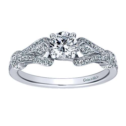 Lucille 14k White Gold Round Split Shank Engagement Ring angle 5
