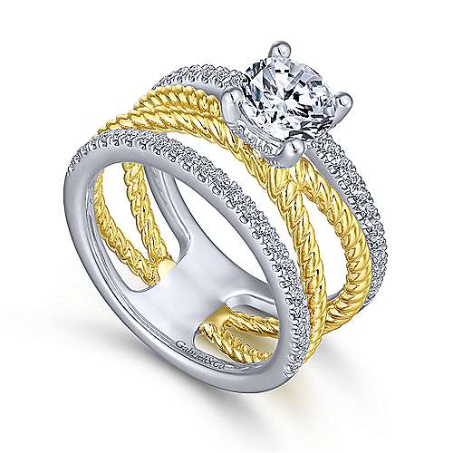 Lucinda 14k Yellow And White Gold Round Twisted Engagement Ring angle 3