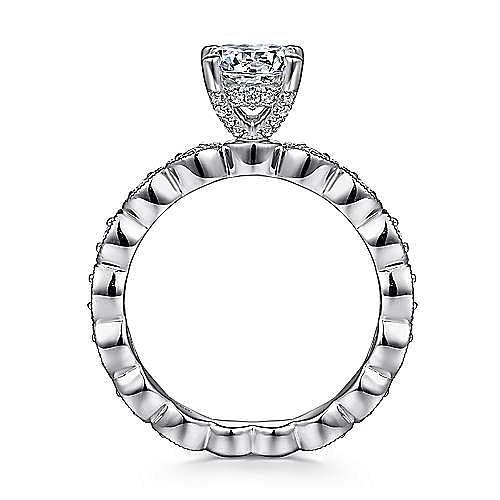 Lula 14k White Gold Round Straight Engagement Ring angle 2
