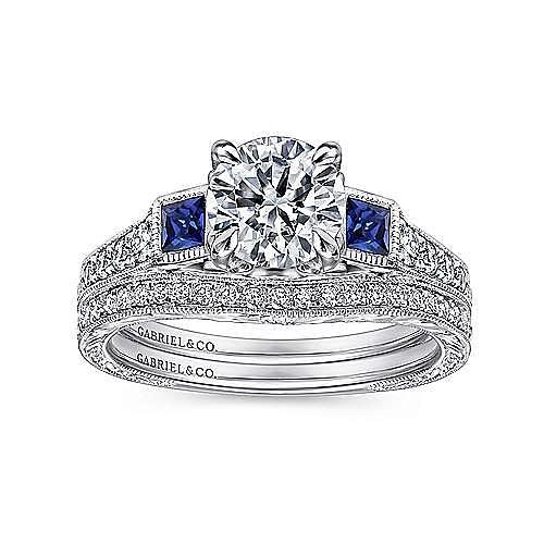 Lunaria Platinum Round 3 Stones Engagement Ring angle 4