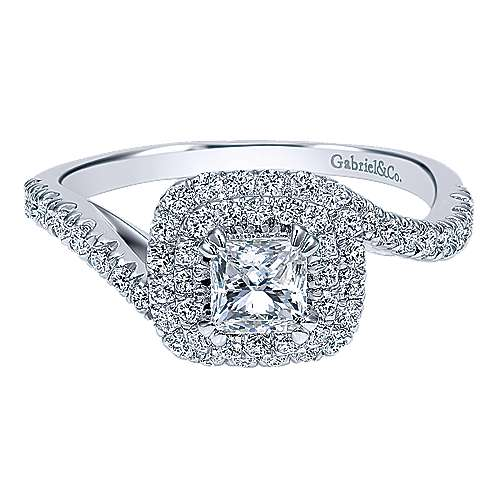 Lupe 14k White Gold Princess Cut Double Halo Engagement Ring angle 1