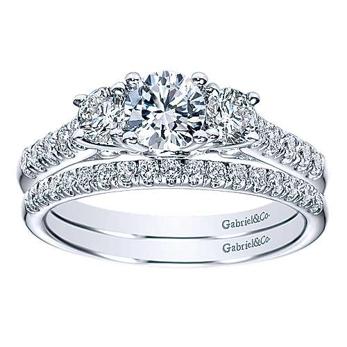 Lure 14k White Gold Round 3 Stones Engagement Ring angle 4