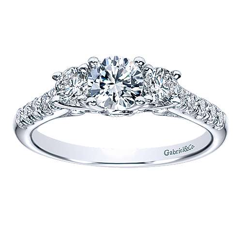 Lure 14k White Gold Round 3 Stones Engagement Ring angle 5