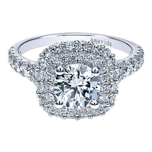 Gabriel - Lush 18k White Gold Round Double Halo Engagement Ring