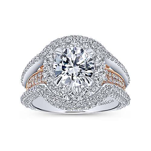 Luxury 18k White And Rose Gold Round Double Halo Engagement Ring angle 5