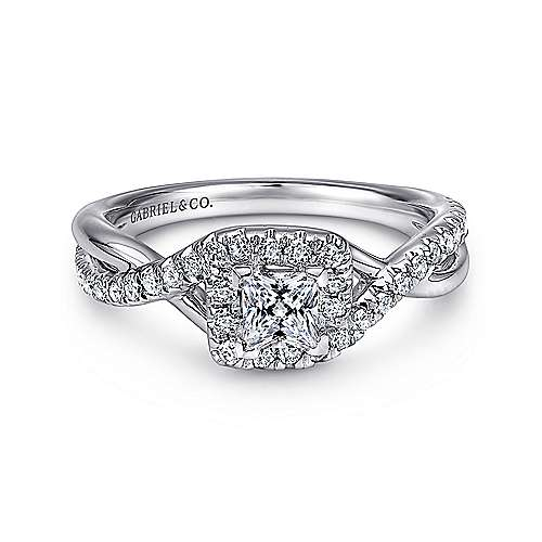 Gabriel - Luz 14k White Gold Princess Cut Halo Engagement Ring