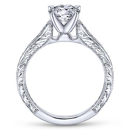 Lydia 14k White Gold Round Straight Engagement Ring angle 2