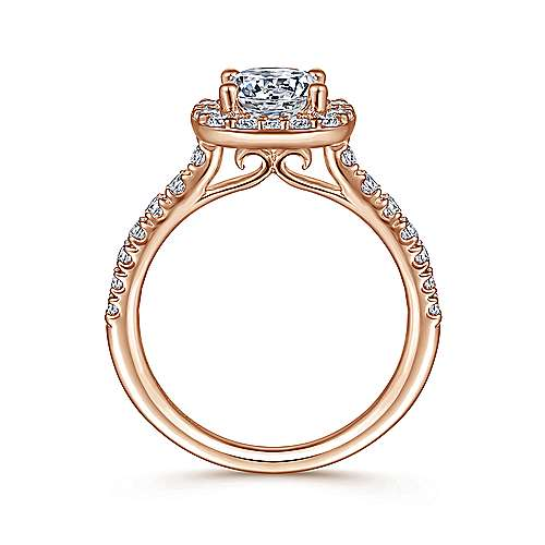 Lyla 14k Rose Gold Round Halo Engagement Ring angle 2