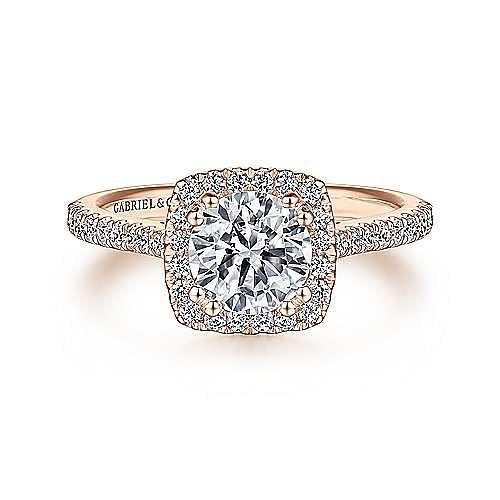 Lyla 14k Rose Gold Round Halo Engagement Ring angle 1
