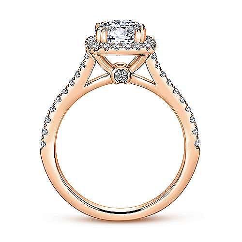 Lyla 14k Rose Gold Round Halo Engagement Ring angle 2