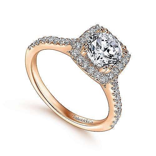 Lyla 14k Rose Gold Round Halo Engagement Ring angle 3