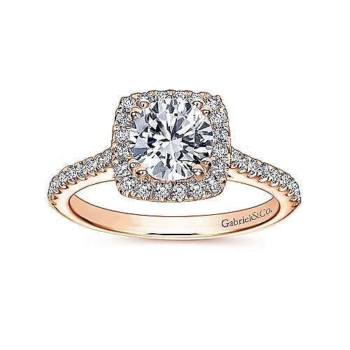 Lyla 14k Rose Gold Round Halo Engagement Ring angle 5