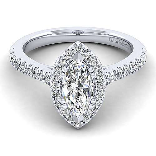 Gabriel - Lyla 14k White Gold Marquise  Halo Engagement Ring